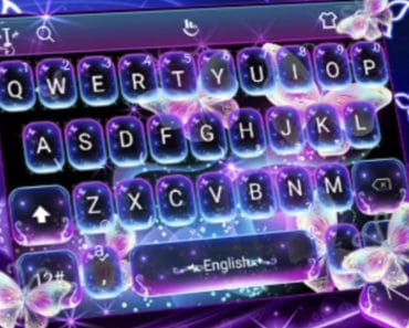 Download Colorful Glitter Neon Butterfly Keyboard Theme APK - For Android/iOS 8