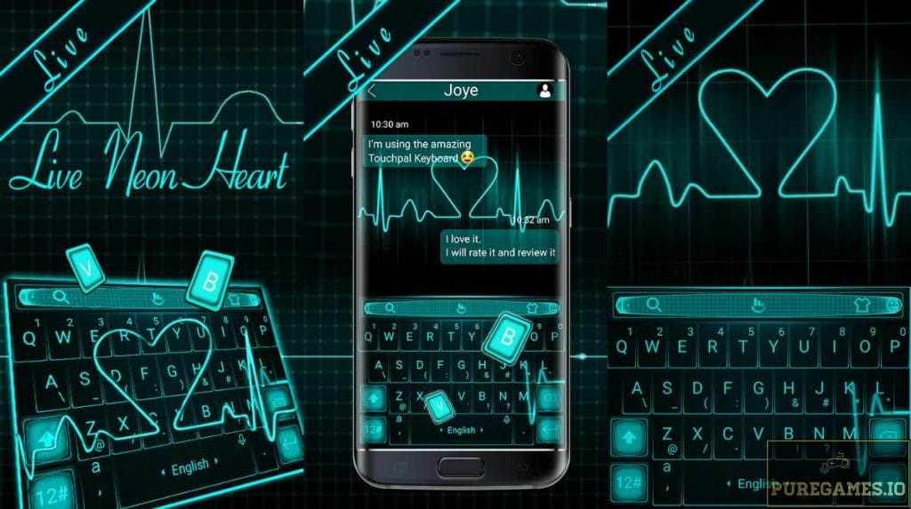 Download Live 3D Neon Blue Heart Keyboard Theme APK - For